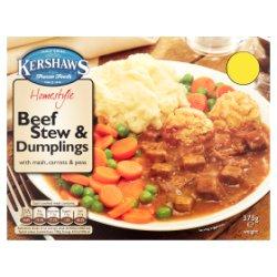 Kershaws Homestyle Beef Stew & Dumplings with Mash, Carrots & Peas 375g