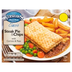 Kershaws Classic Steak Pie & Chips with Carrots & Peas 400g