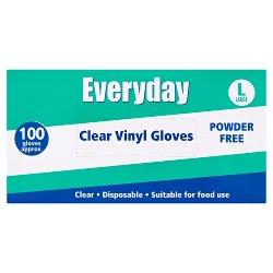 Everyday 100 Powder Free Clear Vinyl Gloves Large