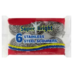 Super Bright 6 Stainless Steel Scourers
