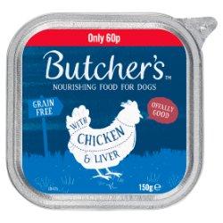 Butcher's Chicken & Liver Dog Food Tray 150g