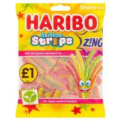 HARIBO Rainbow Strips Z!ng Bag 130g £1PM