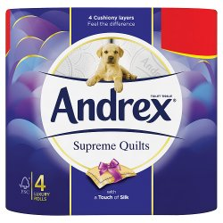 Andrex Supreme Quilts Toilet Roll Tissue 4 Rolls