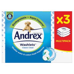 Andrex Classic Clean Washlets with Micellar Water 3 Pack