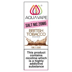 Aqua Vape British Tobacco Salt Nicotine 20mg E-Liquid 10ml