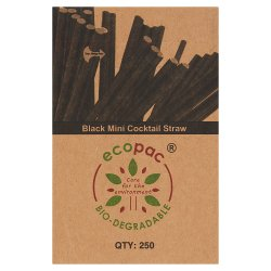 Ecopac Bio-Degradable 250 Black Straight Paper Cocktail Straw 140mm