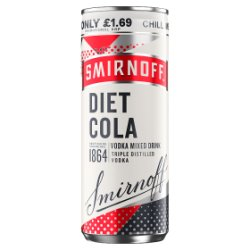 Smirnoff & Diet Cola Vodka Mixed Drink 250ml PMP £1.69