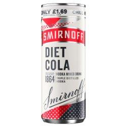 Smirnoff & Diet Cola Vodka Mixed Drink 250ml