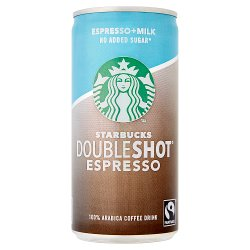 Starbucks Fairtrade DoubleShot Espresso No Added Sugar 100% Arabica Coffee Drink 200ml