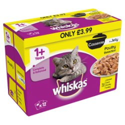 WHISKAS 1+ Cat Pouches Casserole Poultry Selection 12 x 85g Pack MPP £3.99