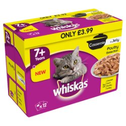 WHISKAS 7+ Cat Pouches Casserole Poultry Selection in Jelly 12 x 85g Pack MPP £3.99