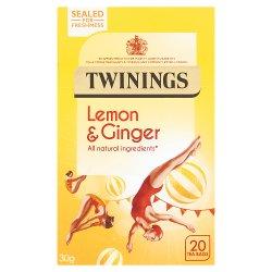 Twinings Lemon & Ginger 20 Single Tea Bags 30g