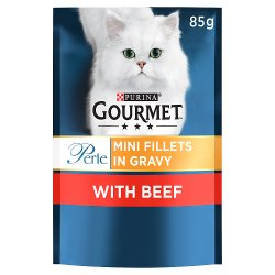 Gourmet Perle Cat Food Mini Fillets Beef in Gravy 85g