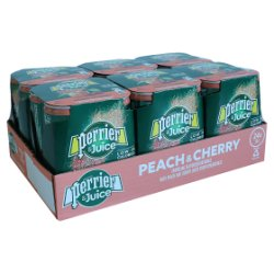 Perrier & Juice Sparkling Peach & Cherry Water 6x4x250ml