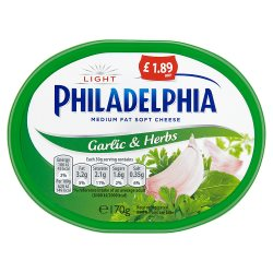 Philadelphia Light with Garlic and Herbs Soft White Cheese £1.89 170g