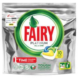 Fairy Platinum Dishwasher Tablets Lemon 10 per Pack