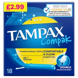 Tampax Compak Regular Tampons With Applicator X 18