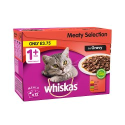 Whiskas Adult 1+ Wet Cat Food Pouches with Meat in Gravy 12 x 100g