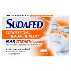 Sudafed Congestion & Headache Relief Max Strength Capsules 16 Capsules