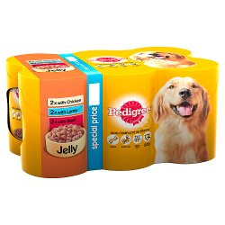 Pedigree Wet Dog Food Tins Mixed Variety Selection in Jelly 6 x 385g (PMP £4.25)