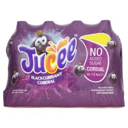 Jucee No Added Sugar Blackcurrant Cordial 8 x 1.5 Litre