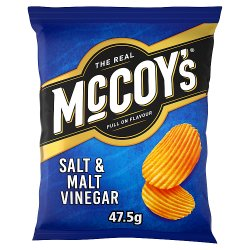 The Real McCoy's Salt & Malt Vinegar Flavour Ridge Cut Potato Crisps 47.5g