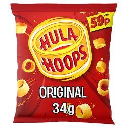 Hula Hoops Original Crisps 34g, 59p PMP