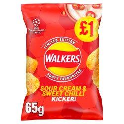 Walkers Sour Cream & Sweet Chilli Kicker Crisps £1 RRP PMP 65g