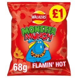 Monster Munch Flamin Hot Snacks £1 PMP 68g