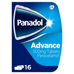 Panadol Paracetamol Tablets Pain Relief 500mg Advance 16s