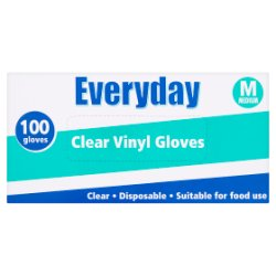 Everyday 100 Clear Vinyl Gloves Medium