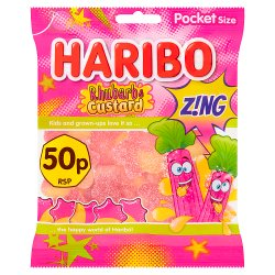 HARIBO Rhubarb & Custard Z!NG Bag 70g 50p PM