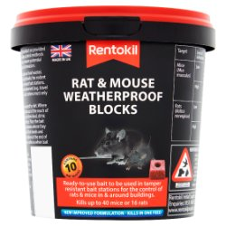 Rentokil Rat & Mouse Weatherproof Blocks Tub of 10