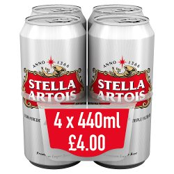 Stella Artois 4% Lager Beer Cans 4 x 440ml