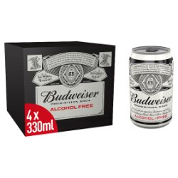 Budweiser Prohibition Brew Non-alcoholic Beer Cans 4 x 330ml