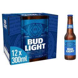 Bud Light Lager Beer Bottles 12 x 300ml