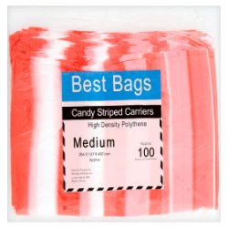 Best Bags 100 Candy Striped Carriers Medium