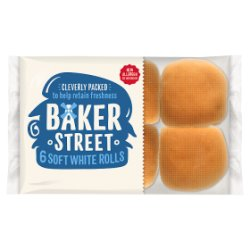 Baker Street 6 Soft White Bread Rolls