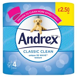Andrex® Classic Clean Toilet Tissue 4 Rolls x 6 200sc PMP