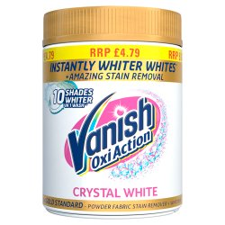 Vanish Oxi Action Crystal White Powder Fabric Stain Remover + Whitener 470g
