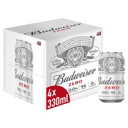 Budweiser Zero Alcohol Free Lager Beer Cans 4 x 330ml