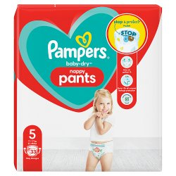 Pampers Baby-Dry Nappy Pants Size 5, 33 Nappies, 12kg-17kg, Essential Pack