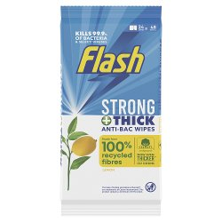 Flash Anti-Bacterial Strong & Thick Cleaning Wipes 48 Count (24 Large Wipes)