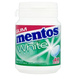 Mentos Gum White Sugar Free Spearmint Bottle 40pcs
