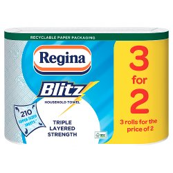 Regina Blitz Original 210 Extra Large Triple Layer Sheets 3 Rolls