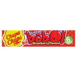 Chupa Chups Big Babol Strawberry Flavour Soft Bubble Gum - 27.6g / 6 Pieces