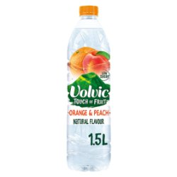 Volvic Touch of Fruit Low Sugar Orange & Peach Natural Flavour 1.5L