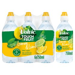 Volvic Touch of Fruit Low Sugar Lemon & Lime Natural Flavoured Water 6 x 750ml