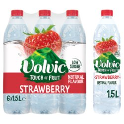 Volvic Touch of Fruit Strawberry Natural Flavoured Water 6 x 1.5L