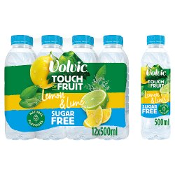 Volvic Touch of Fruit Sugar Free Lemon & Lime Natural Flavoured Water 12 x 500ml